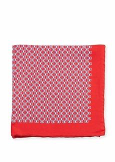 Ferragamo Fibbia Gancini Silk Pocket Square  Red