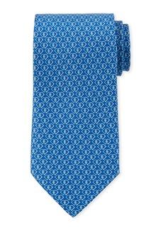 Ferragamo Fiocco Gancini Printed Silk Tie  Blue