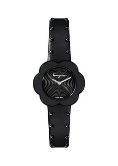 Ferragamo Fiore Black-Tone Stainless Steel & Leather-Strap Watch