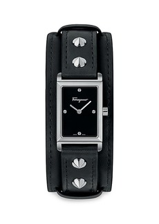 Ferragamo Fiore Stainless Steel & Leather-Strap Watch