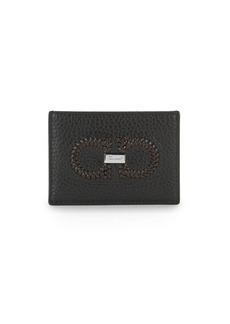 Ferragamo Firenze Logo Intreccio Leather Card Case