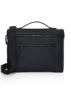 Ferragamo Firenze Pebbled Leather Top Handle Briefcase