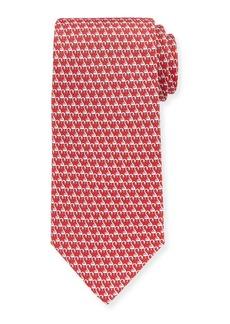 Ferragamo Flamingos Silk Tie  Red