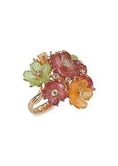 Ferragamo Floral Bouquet 18K Gold & Multi-Stone Ring