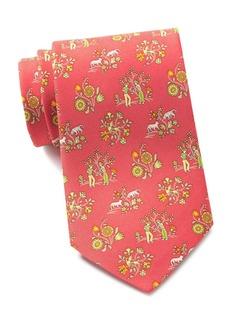 Ferragamo Floral Medallion Print Silk Tie