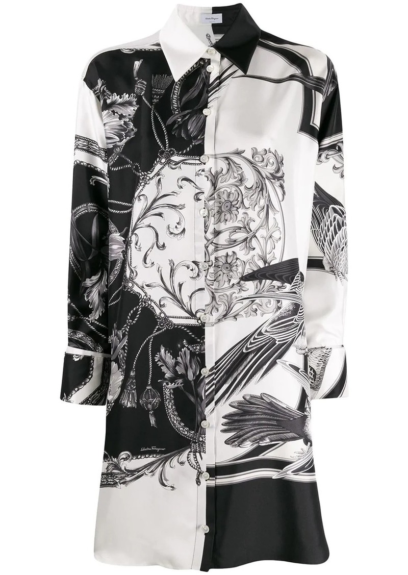 Ferragamo floral print long-line shirt