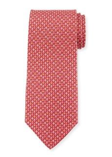 Ferragamo Foglia Fir Tree Printed Silk Tie  Red