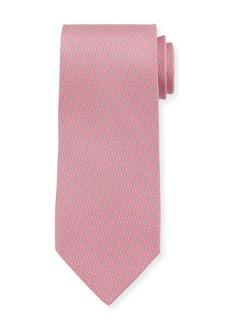 Ferragamo Forte Interlocking Gancini Silk Tie  Pink