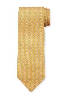 Ferragamo Fortuna Linked Gancini Silk Tie  Yellow
