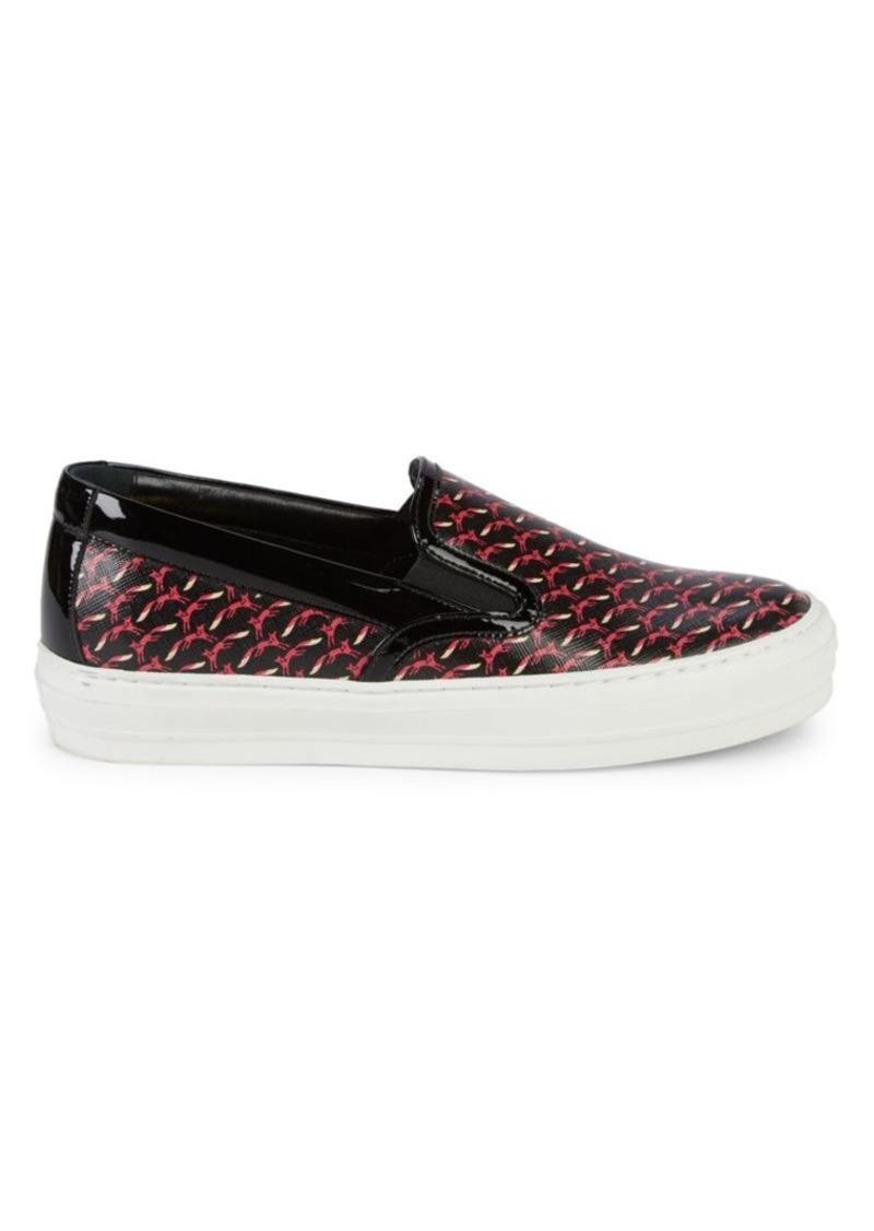Ferragamo Fox Print Leather Slip-On Sneakers