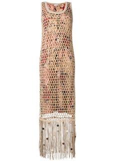 Ferragamo fringed mesh overlay dress