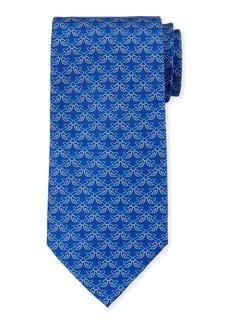 Ferragamo Fringue Floral Pattern Silk Tie