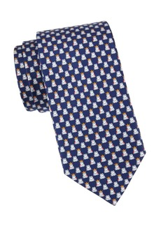 Ferragamo Frog-Print Silk Tie