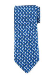 Ferragamo Fufo Owl Printed Silk Tie  Blue