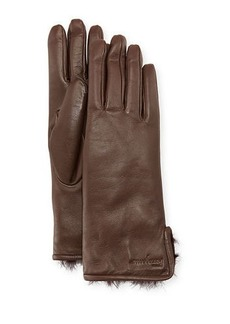 Ferragamo Fur-Lined Leather Gloves