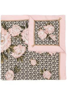 Ferragamo Gancini and peonies print scarf