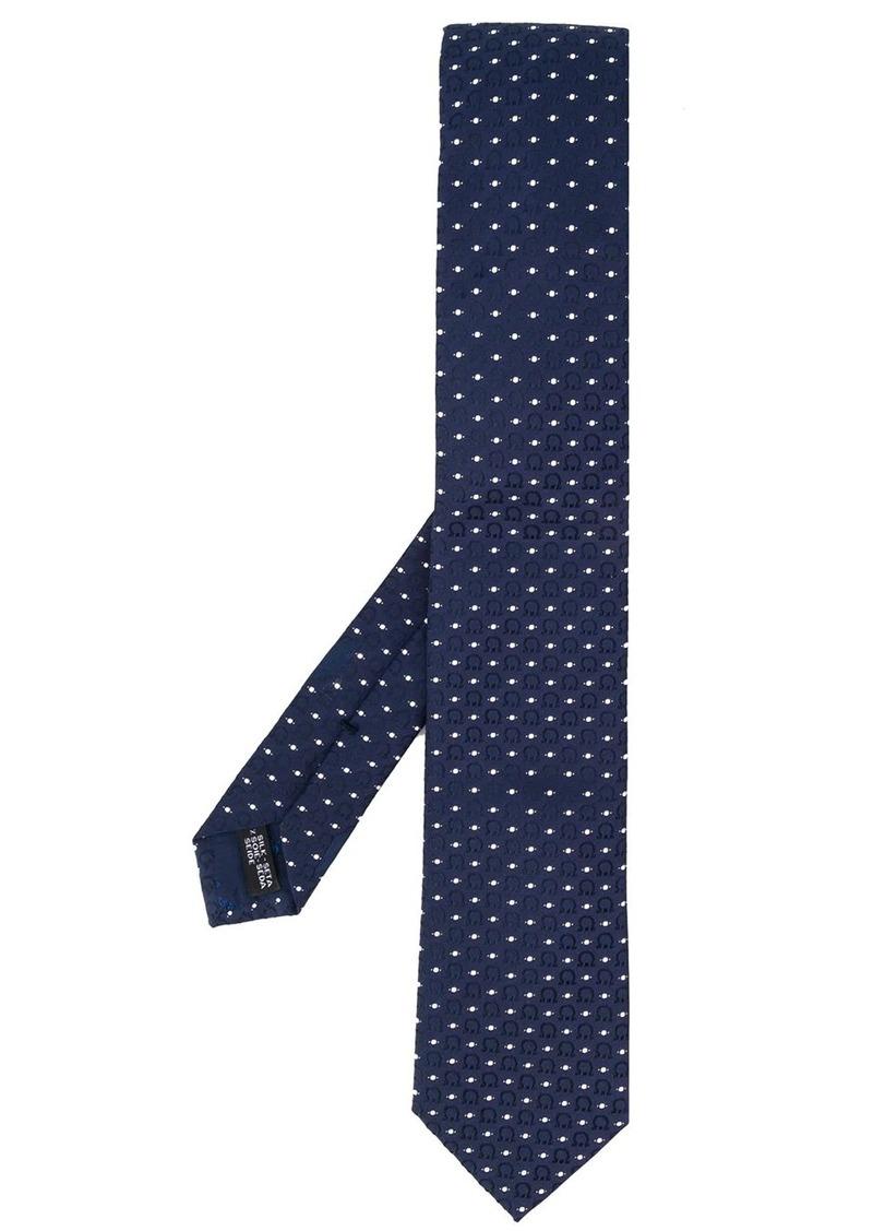 Ferragamo Gancini embroidery silk tie