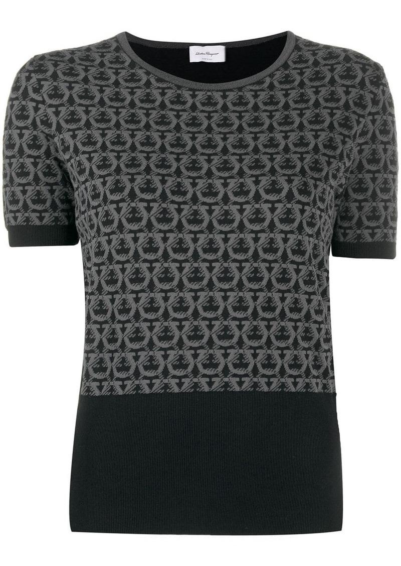 Ferragamo Gancini intarsia knitted top