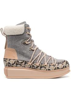 Ferragamo Gancini-pattern lace-up padded boots