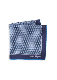 Ferragamo Gancini Print Silk Pocket Square