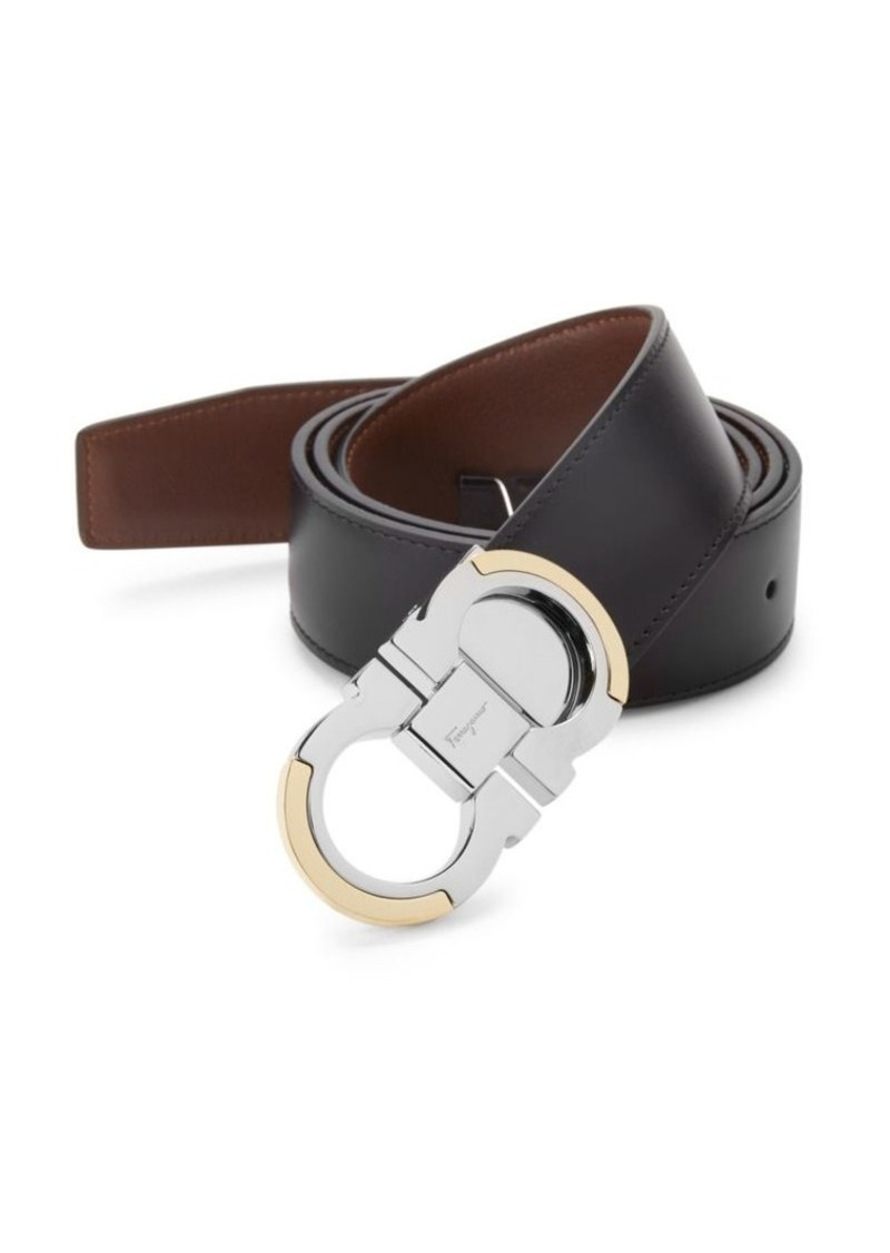 Ferragamo Gancini Reversible Black/Tan Leather Belt