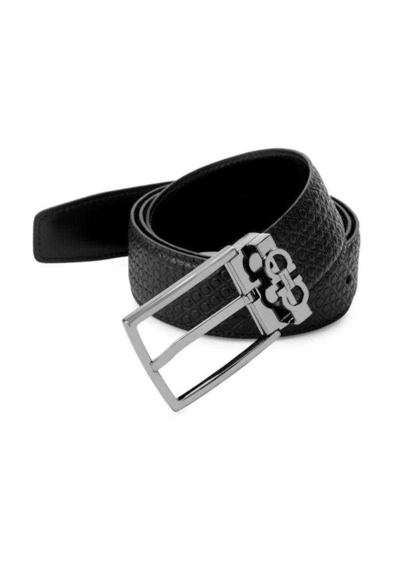 Ferragamo Gancini Reversible Embossed/Smooth Leather Belt