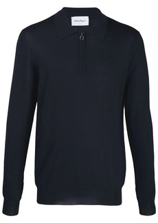 Ferragamo Gancini zip-up collar knitted sweater