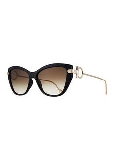 Ferragamo Gancio Cat-Eye Plastic & Metal Sunglasses