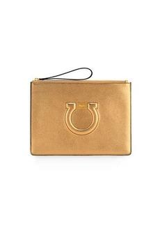 Ferragamo Gancio City Metallic Leather Wristlet Pouch Bag