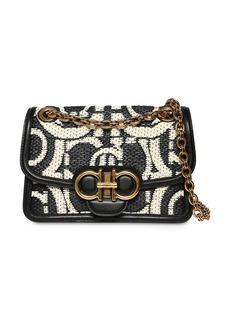 Ferragamo Gancio Raffia Effect Bag W/ Leather
