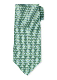Ferragamo Gemma Kissing Birds Silk Tie  Green