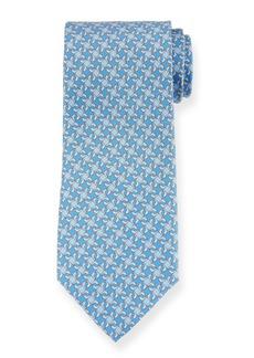Ferragamo Geo Dolphins Silk Tie. Blue