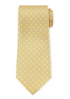 Ferragamo Geo Dolphins Silk Tie. Yellow