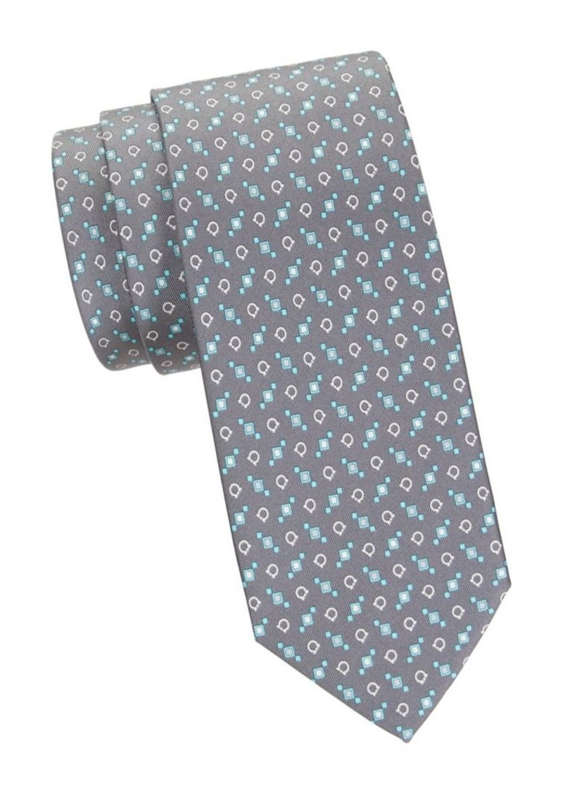 Ferragamo Geometric & Logo-Print Silk Tie