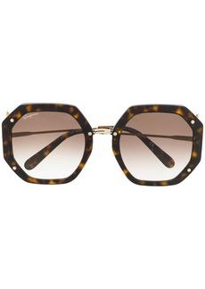 Ferragamo geometric frame sunglasses