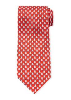 Ferragamo George Frog Prince Silk Tie  Red