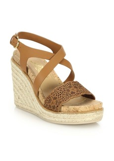 Ferragamo Gioela Raffia & Leather Platform Wedge Sandals