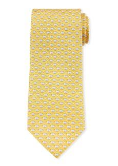 Ferragamo Giusto Piggy Bank Silk Tie  Yellow