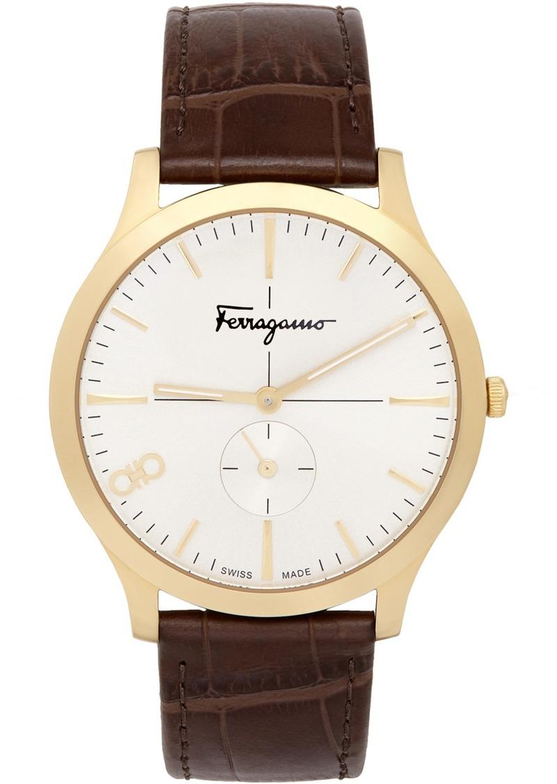 Gold Croc Leather 'Ferragamo' Slim Watch