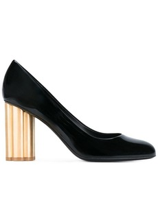 Ferragamo gold heel pumps