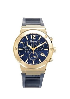 Ferragamo Goldtone Stainless Steel & Rubber-Strap Chronograph Watch