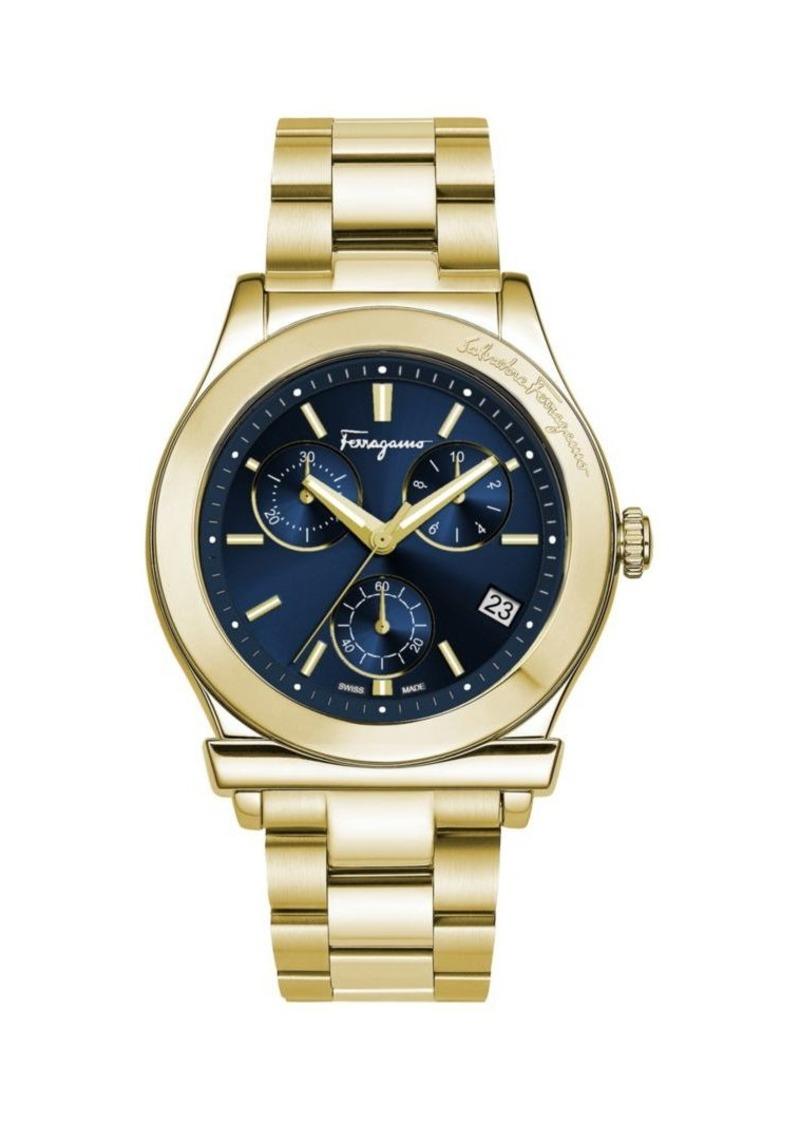 Ferragamo Goldtone Stainless Steel Chronograph Watch