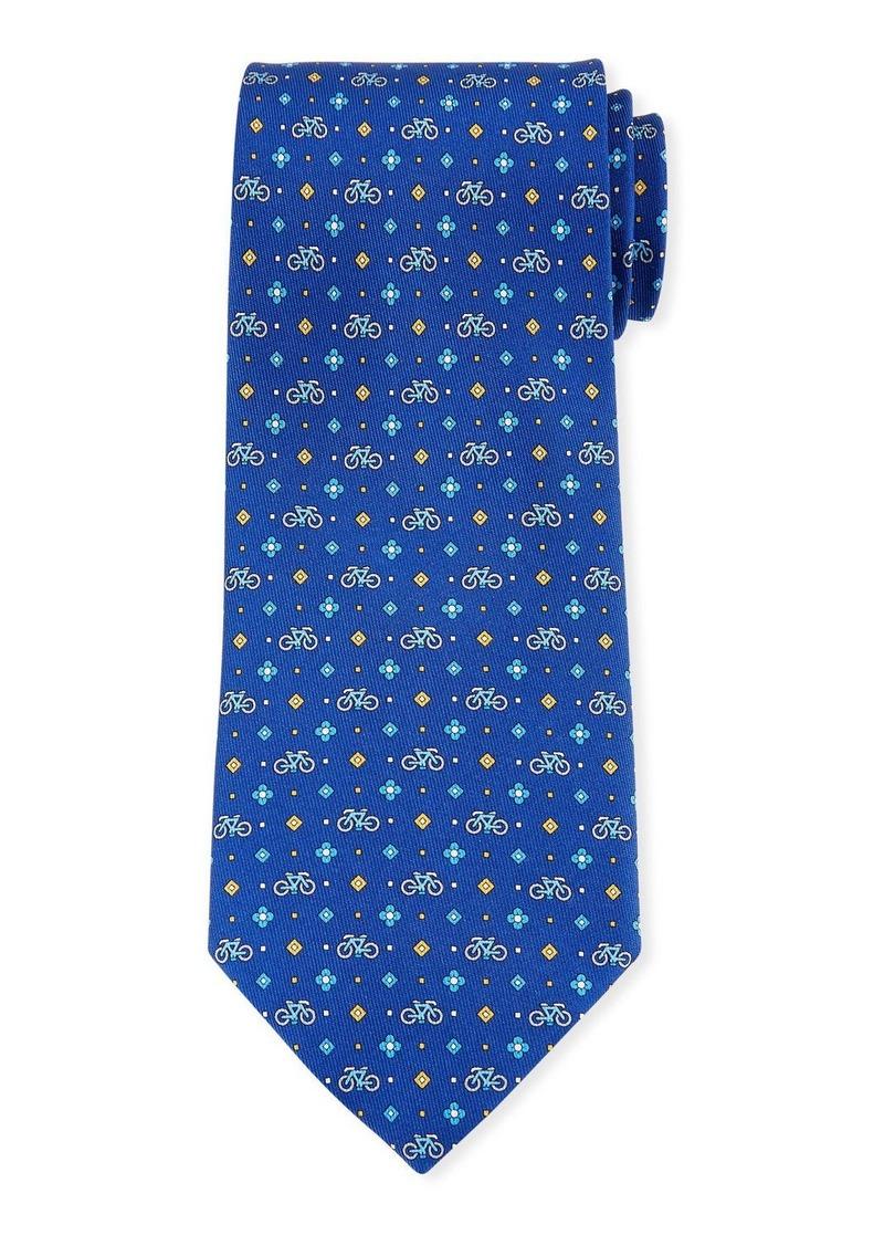 Ferragamo Graziel Bicycle Silk Tie  Blue
