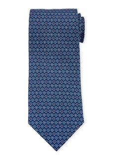Ferragamo Grey Gancio Silk Tie  Blue