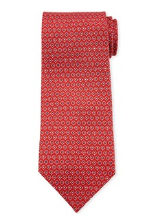 Ferragamo Grey Gancio Silk Tie  Red