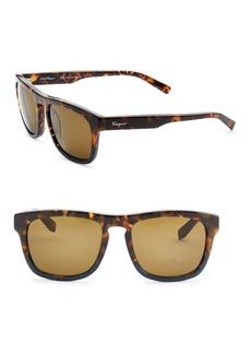 Ferragamo Havana 55MM Square Sunglasses