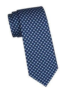 Ferragamo Hippo-Print Silk Tie