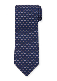 Ferragamo Honeybee Silk Tie  Blue