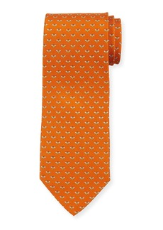 Ferragamo Honeybee Silk Tie  Orange