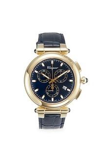 Ferragamo Idillio Stainless Steel & Leather-Strap Chronograph Watch